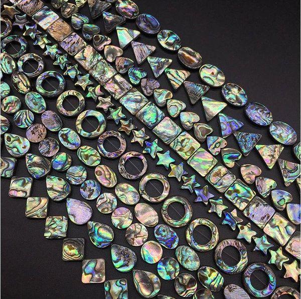 top popular LOT Rainbow Paua Abalone Shell Coin Oval square Drop Heart rectangle Teardrop Triangle Oval Donut Star Diamond Beads Jewelry Making Beads 2021