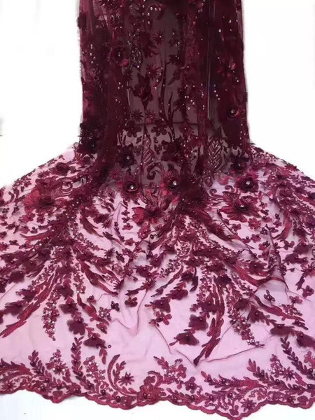 best selling The latest African 3D lace fabric French tulle lace fabric with bead 2020 high quality Nigerian wedding H3640