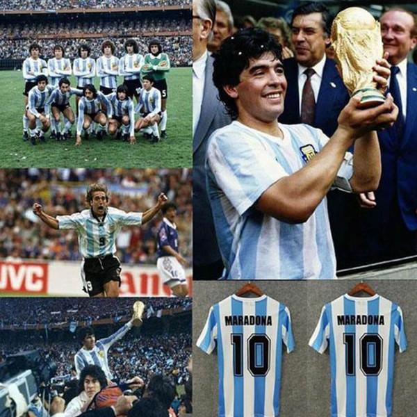 top popular Retro 1986 Argentina Diego Maradona Soccer Jerseys Messi 1978 1994 1996 1998 2006 Riquelme Vintage football soccer shirt Kit Classic tops 2020