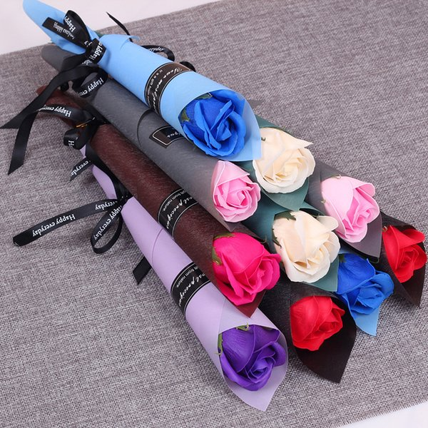 best selling Single Stem Artificial Rose Romantic Valentine Day Wedding Birthday Party Soap Rose Flower Red Pink Blue