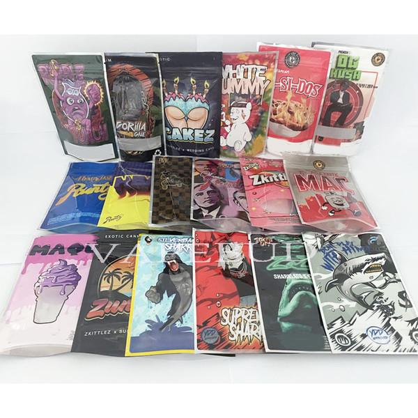 best selling 3.5g white runtz og pink runtz sharklato gorilla glue exotic cakez smell proof bags ziplock exotic packaging custom print logo