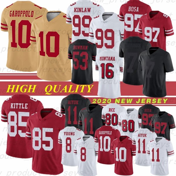 best selling 10 Jimmy Garoppolo 85 George Kittle 97 Nick Bosa 99 Javon Kinlaw Montana 7 Colin Kaepernick 8 Young 11 Brandon Aiyuk Football jersey