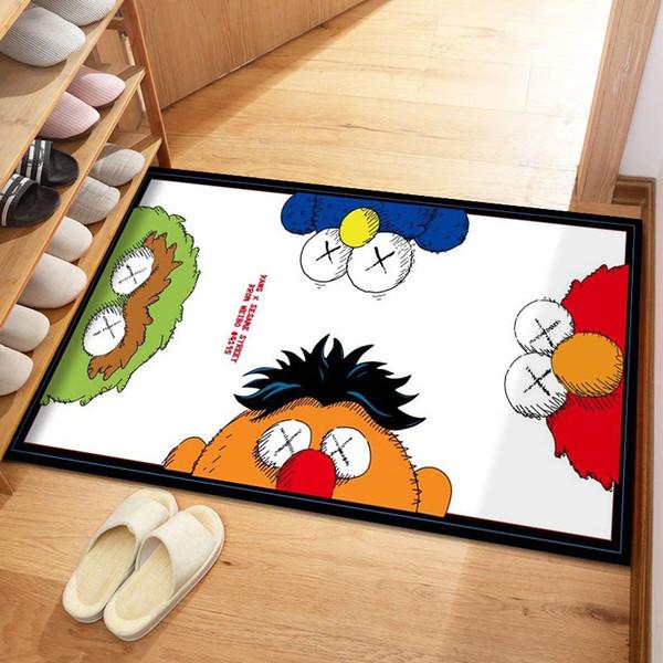 top popular Fashion KAWS Carpets 40*60cm Home Textiles 8 Colors Bedroon Decorative Foot Pad Rectangle 2021