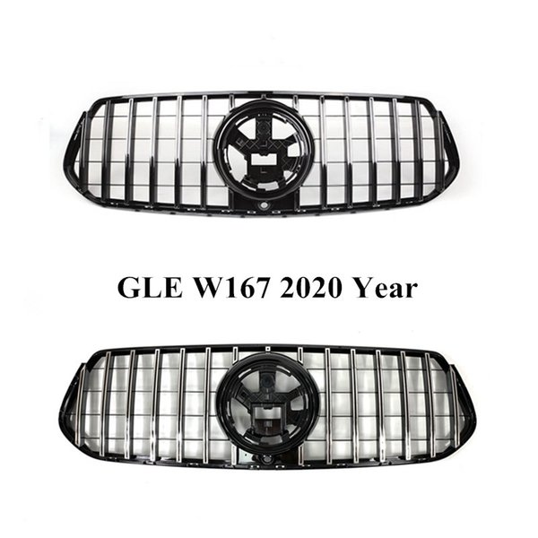 best selling 1 Piece ABS Front Auto Grilles Black Silver GT Mesh Grille For M-ercedes B-ENZ GLE Class W167 Car Accessories