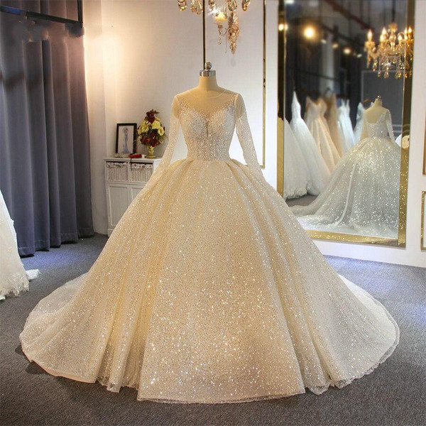 best selling Sparkling Ball Gown Wedding Dresses Sheer Jewel Neck Appliqued Sequins Long Sleeves Lace Bridal Gowns Custom Made Abiti Da Sposa
