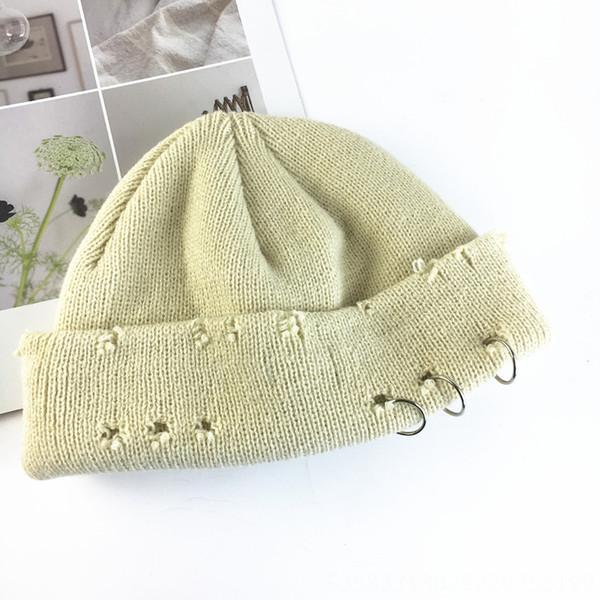 Chapeau tricoté perforé tricyclique - beig