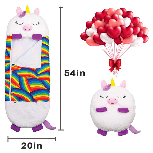 top popular Children's sleeping bag Unicorn cartoon happy warm baby sleeping bag soft and comfortable easy to carry sleeping bag pillow children 2021