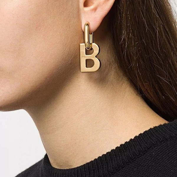best selling Flashbuy New Design Gold Silver Color Letter B Pendant Earrings for Women Vintage Detachable Minimalist Jewelry