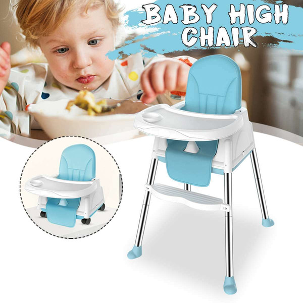 best selling Multifunctional Baby High Chair Adjustable Kids Safety Dining High Chair Booster with Seat Wheels Cushion Foldable Baby Chair LJ201110