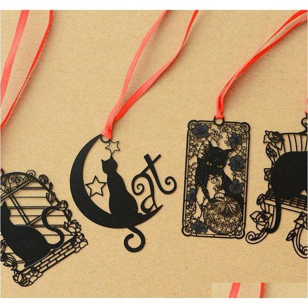 best selling 14 pcs lot cartoon black cat metal bookmarks for books notebook tab book mark stationery school supplies marcador de livro y19062803