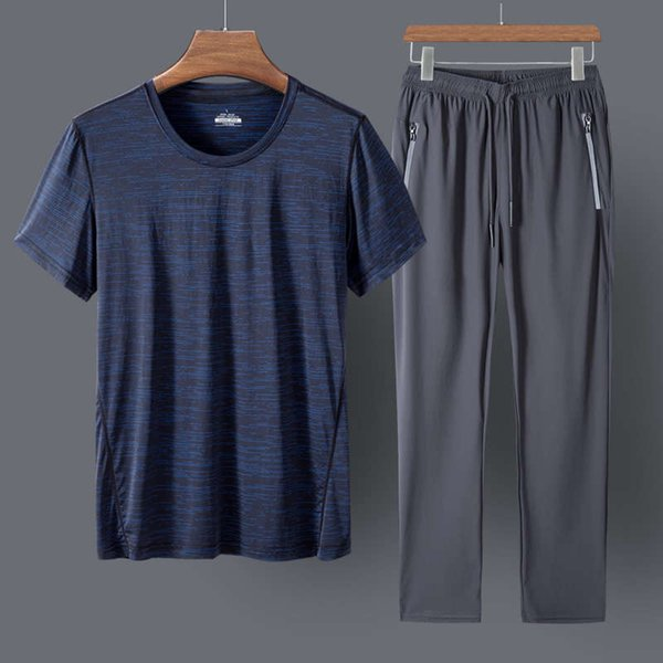 Dark Blue And Grey Trousers