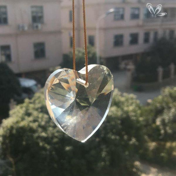 top popular 45mm Heart Crystal Prisms Chandelier Part Pendant Suncatcher Glass Art Hanging Home Decor Diy Ornament Faceted H jllbOO 2021