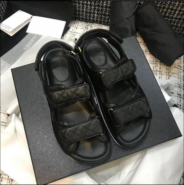 best selling Original High Quality Genuine Leather Rhombus Platform Velcro Sandals 2020 Summer New Hot Sale Women's Fashion Flat Sandals Beach Shoes