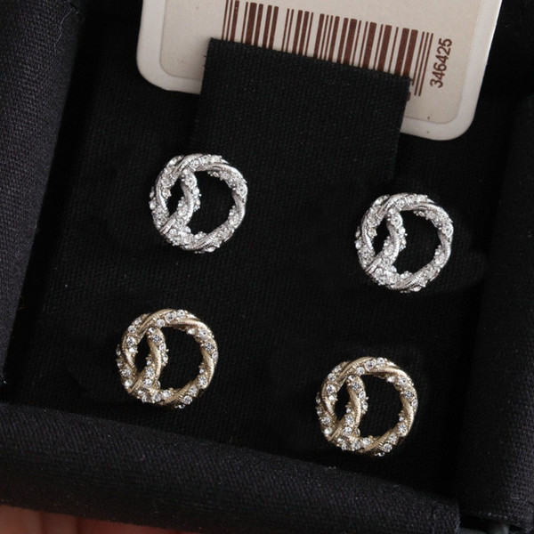 best selling Fashion gold diamond stud earrings aretes for lady Women Party Wedding Lovers gift engagement Jewelry for Bride with box.