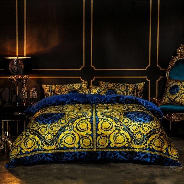 best selling White Gold European Luxury Classic Bedding set Winter Thick Velvet Flannel Fleece Duvet cover Bed Linen Fitted Sheet Pillowcases 201021