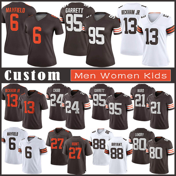 best selling 6 Baker Mayfield Custom Men Women Kids Football Jersey 24 Nick Chubb 95 Myles Garrett 80 Jarvis Landry 27 Kareem Hunt 13 Odell Beckham Jr