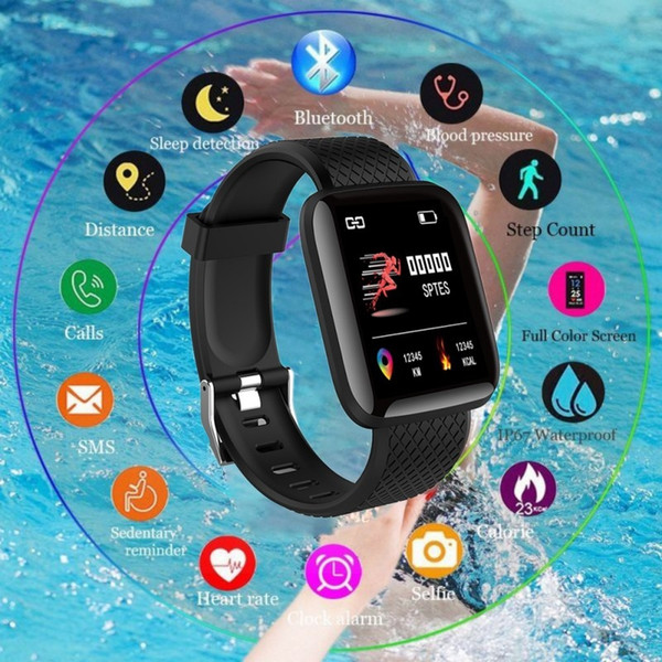 top popular 116plus Smart Bracelet Color Touch screen Smartwatch Smart band Real Heart Rate Blood Pressure Sleep Smart Wristband PK mi band 4 #009 2021