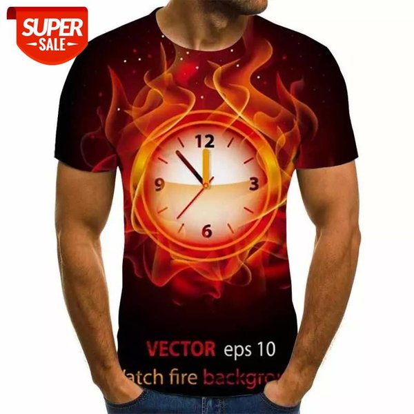best selling New 2020 Men's 3D T-shirt flame Alarm clock Printed Cartoon Summer T-shirt Size XXS-6XL #qj63