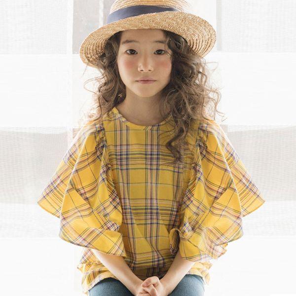 top popular 2020 Spring Plaid Girls Shirt New Arrival Kids Cute Bell Sleeve Shirt for Teen Girls Cotton Baby Girls Fashion Shirt, #8547 Y200704 2021