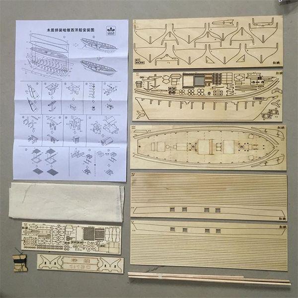 best selling None Assembling Building Kits Ship Sailboat Toys Harvey Sailing Model Assembled Wooden Kit DIY Y200428