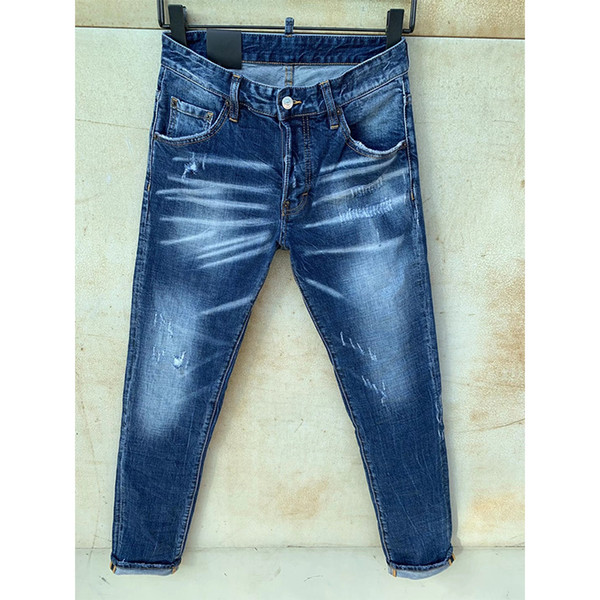 best selling Mens Rips Stretch Black Jeans Fashion Slim Fit Washed Motocycle Denim Pants Panelled Hip HOP Trousers JV0K