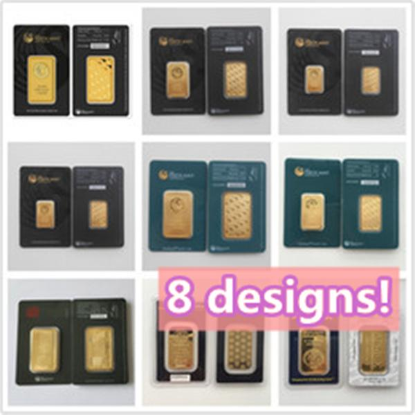 best selling 1OZ 8 Designs mint Ap Australia perth-mint mex rcm gold plated bars Souvenirs Christmas Present Black & Green Sealed Package Non magnetic Gifts