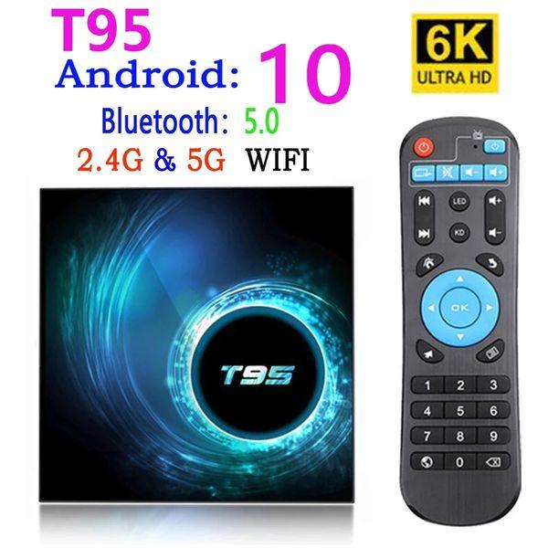 best selling T95 Smart Tv Box Android 10 4k 6k 4g 32gb 64gb 2.4g & 5g Wifi Bluetooth 5.0 Quad Core set-top box media Player