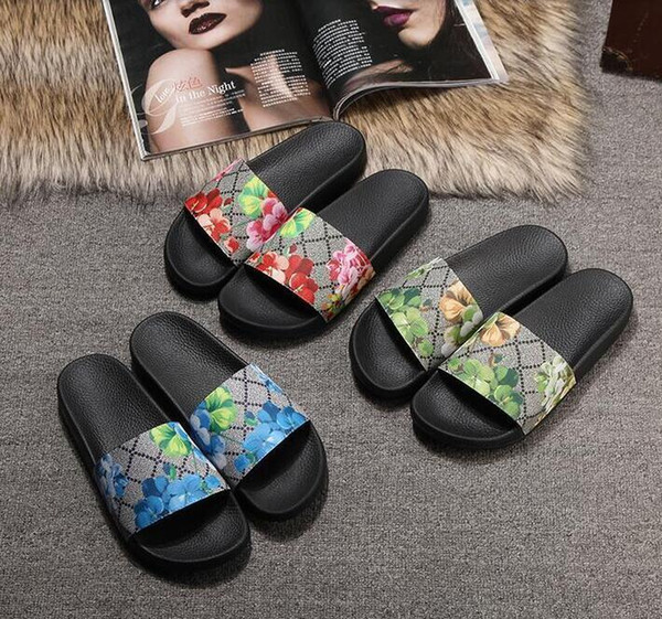 top popular New Hot Men Women Shoes Slippers Pearl 2021 Print Slide Summer Wide Flat Lady Sandals Slipper With Box Dust Bag 35-46 2021