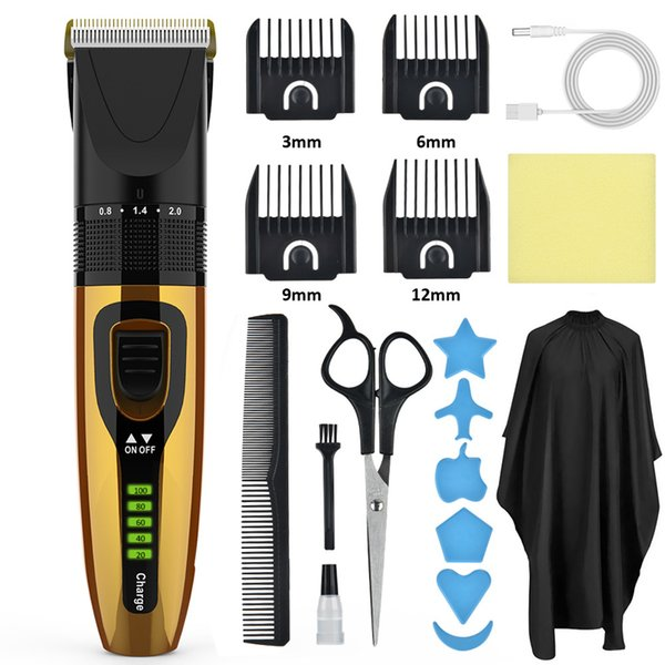 best selling Men Electric Hair Trimmer Hair Clipper Household Waterproof Cloth Scissors Professional Hair Cuttiing 8 pieces suit