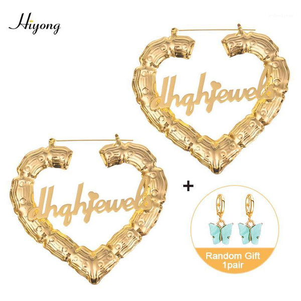 top popular 70 90mm Custom Earrings Love shape Hiphop Bamboo Hoop Earrings Customizable Heart Customize Name for Women Girls1 2021