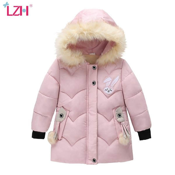 best selling LZH Children Warm Outerwear Coat For Kids Hooded Jackets For Girls Winter Cotton-padded Clothes Toddler Girls Jacket 3 4 5 Years Q1123