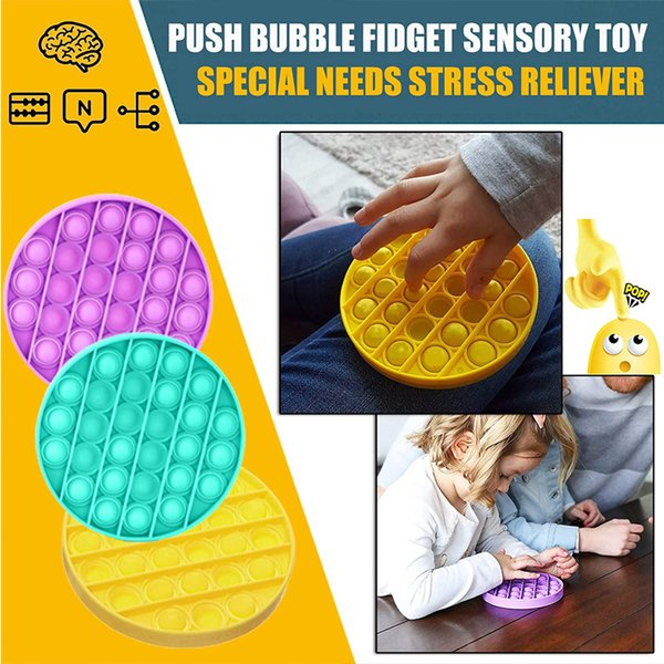top popular Hot Push Pop Fidget Toy Sensory Push Pop Bubble Sensory Toy Pop It Fidget Toy Autism Special Needs Anxiety Stress Reliever for Kids Adults 2021