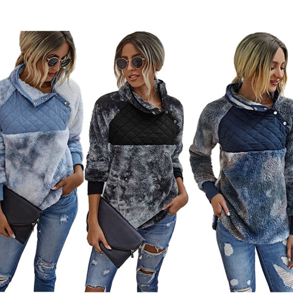 best selling Women Hoodies & Sweatshirts fall winter clothes warm sweatshirt thicken hoodies sexy club outerwear Tie dye panelled hot selling gym 0734