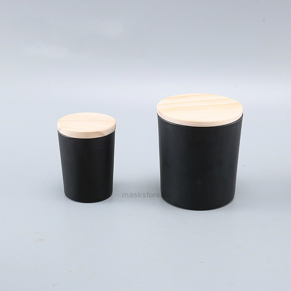 best selling 50ml 160ml 200ml Matte black clear frosted wholesale transparent glass empty cup with wooden lid DIY candle contaXHW37W