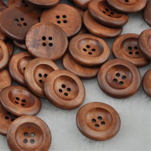top popular Free Shipping 100pcs Coffee Round Wooden Button For Sewing 25.0mm WB221 2021