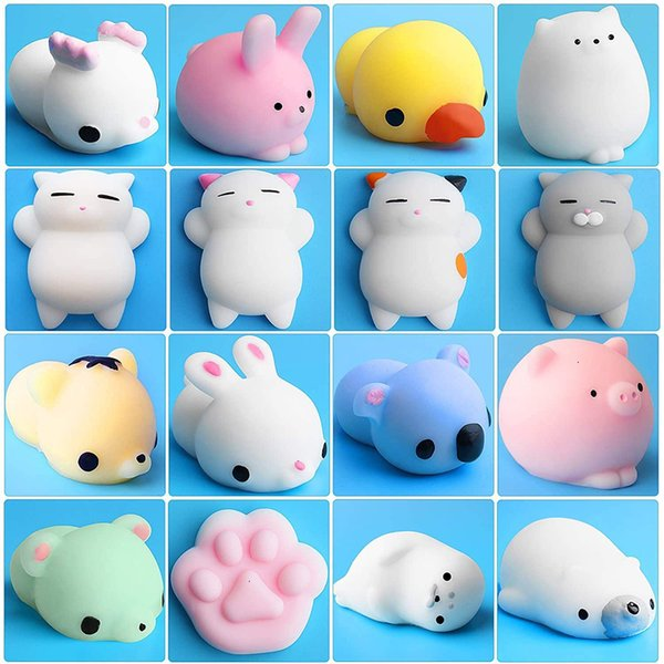 top popular Squishy Animal Stress Relief Mochi Toys Mini Animals Cat Cute Kawaii Decompression Toy Christmas Gift 2021