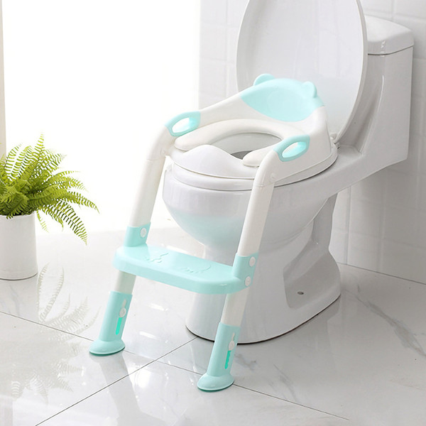 top popular Folding Toilet Ladder Adjustable Universal Splash-Resistant Trainer Seat Potty Baby Toilet Training With Removable Cushion Pad LJ201110 2021