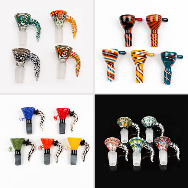 best selling Newest 4 style 14mm bowl and 18mm glass bowl Male Joint Handle Beautiful Slide bowl piece smoking Accessories For Bongs Water Pipes