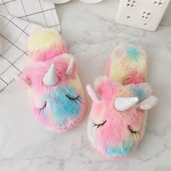 top popular New 2020 Fashion Unicorn Female Cotton Slippers Winter Indoor Plush Thick Warm Shoes Creative Gradient Color Home Floor Cotton Slippers 2021