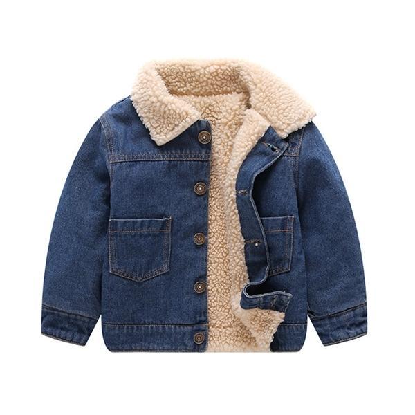 best selling 18M 2-5 Years Toddler Boy Jacket Baby Winter Jackets Girls Boys Jeans Coat Fashion Kids Fleece Turn-down Collar Denim Outerwear Q1123
