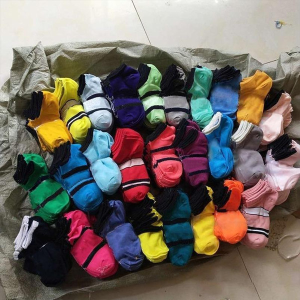best selling Ankle Socks Multi 25 Colors Black pink Sports Short Sock Girls Women Cotton Sports Socks Pink Skateboard Sneaker Stockings 100 pairs