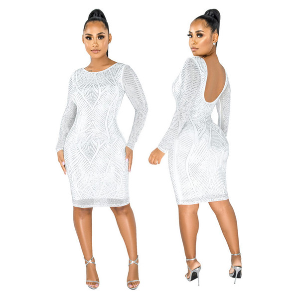 best selling Women Dresses Sparkly Rhinestones Spliced Sexy Pencil Dress Scoop Neck Full Sleeve Party Club Dress Vintage Bodycon Knee Length