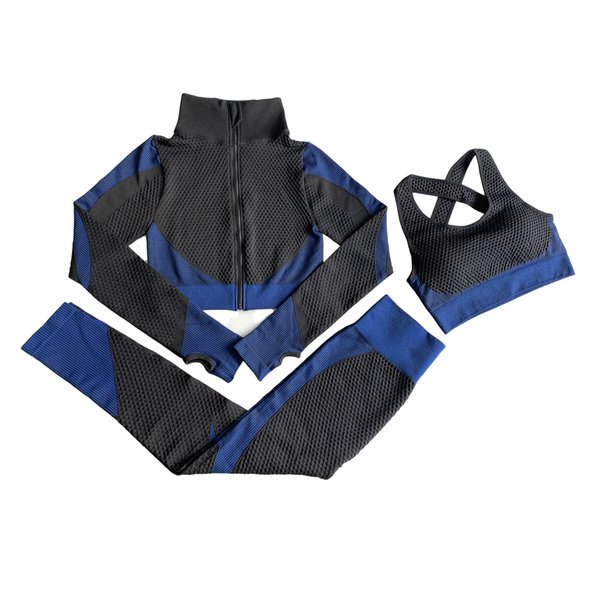 Three Piece Black And Blue Suit