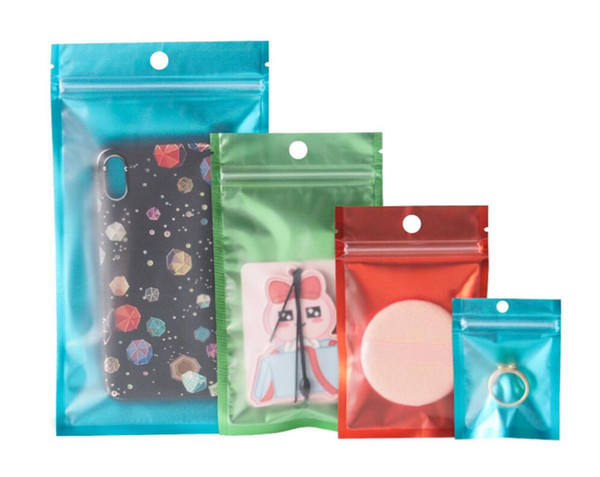 top popular One side clear colored Resealable Zip Mylar Bag Aluminum Foil Bags Smell Proof Pouches Jewelry bag 2021
