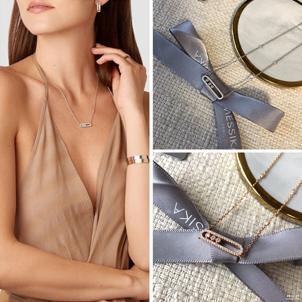top popular 925 Sterling Silver messika Necklace French three diamond move series Rose Gold Plated Original brand Fine jewelry For women Q1114 2021