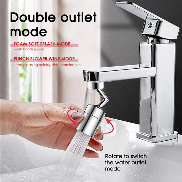 top popular Universal 720 Rotation Tap Aerator Splash Proof Filter Faucet Swivel Movable Saving Water Replacement Bathroom Kitchen Tap Hole Fauce YL0213 2021