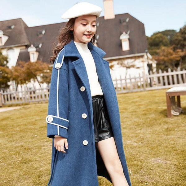top popular Autumn Winter Woolen Long Jackets For 7 - 14 Years Girls Teen Double Breasted Turn Down Collar Elegant Overcoats Outerwear Q1123 2020