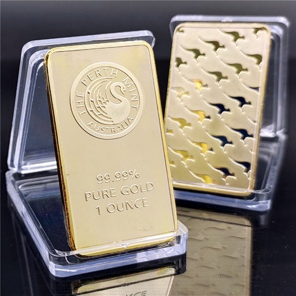 best selling Australia plated 24k gold Commemorative Coins 1 oz Perth Mint Gold Bar Chocolate Coins Gift DHL Free Shipping