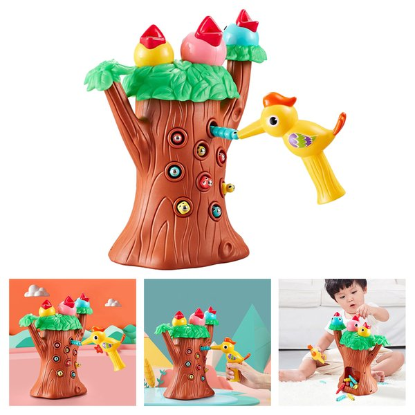 top popular Children Magnetic Toddler Hungry Woodpecker Toy for Age 3+ Girls Boys Pretend Play Fine Motor Skills Feeding Preschool Games Gifts Animals 2021