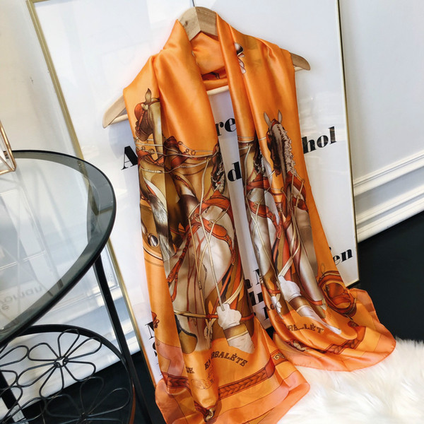 top popular 2021 famous designer ms xin design gift scarf high quality 100% silk scarf size 180x90cm free delivery Buu4 2021